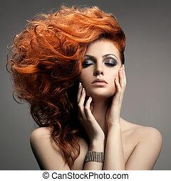 frizura, portrait., szépség