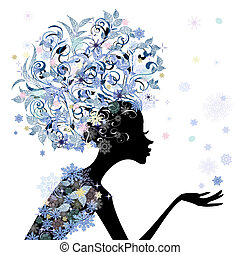 frizura, virág, tervezés, divatba jövő, leány, -e