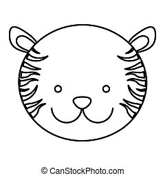 frotn, csinos, árnykép, arc, tiger, állat, kilátás