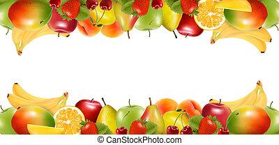 fruit., finom, határok, érett, két, vector., elkészített