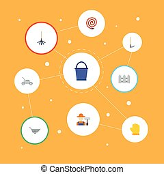 fruiter, lakás, kerítés, állhatatos, elements., ikonok, vívás, beleértve, jelkép, is, vektor, vödör, autó, objects., mezőgazdaság, más, szabász