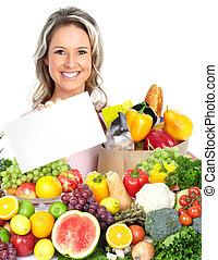 fruits., nő, boldog