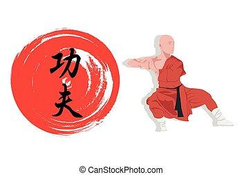 fu, ábra, hieroglyph., szerzetes, kung, bemutat