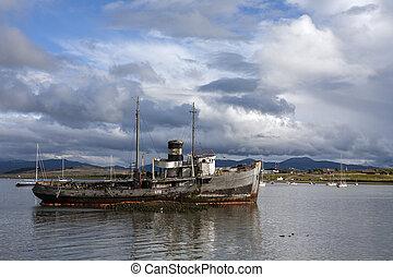 fuego, tierra, hajótörés, del, argentína, kikötő, -, ushuaia