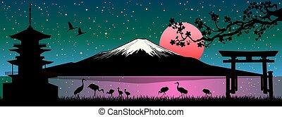 fuji, felmegy, japán, táj