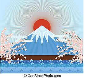 fujiyama, japán, hegy