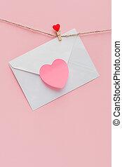 fullánk, öltözék, szeret, piros, levél, odaköt, szív, cövek