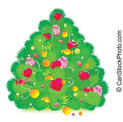 fur-tree, piros, karácsony, díszes, édesség