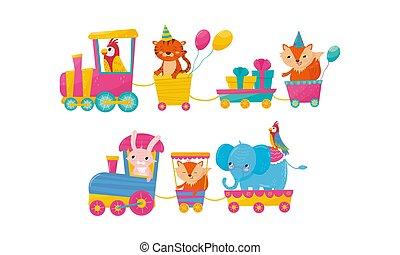 furcsa, állat, lovagol, kiképez, karikatúra, vektor, ábra