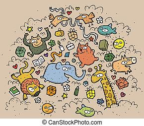 furcsa, állatok, illustration., húzott, objects:, kéz, vektor, ábra, mode!, eps10, zenemű