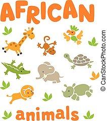 furcsa, állhatatos, állatok, afrikai