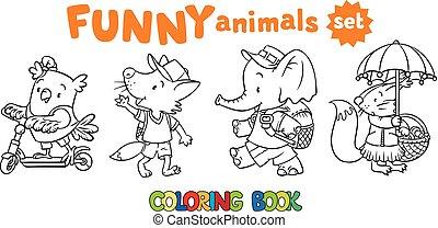 furcsa, állhatatos, állatok, színezés, csecsemő, könyv