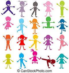 furcsa, állhatatos, játék, színezett, gyerekek