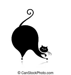 furcsa, árnykép, nagy macska, tervezés, -e