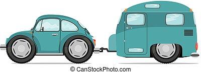 furcsa, öreg, autó