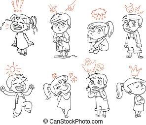 furcsa, alapvető, betű, karikatúra, emotions.