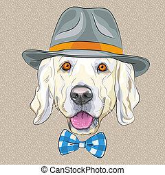 furcsa, arany-, kutya, vektor, csípőre szabott, karikatúra, vizsla