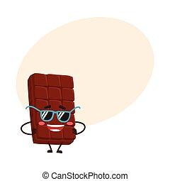 furcsa, bár, csípőre tett-, betű, napszemüveg, csokoládé, beijedt, fegyver