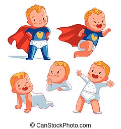 furcsa, betű, karikatúra, superhero., csecsemő
