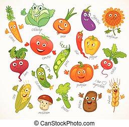 furcsa, betű, vegetables., karikatúra