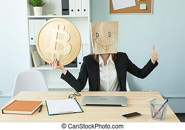 furcsa, bolond, fogalom, szeret, neki, előadás, ő, blockchain, csomag, -, fej, pénz, crypto, hatalmas, pénznem, lát, bitcoin., nő, bennünket
