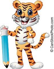 furcsa, ceruza, nagy, tiger, birtok, karikatúra