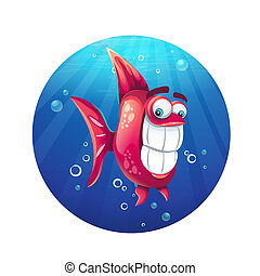 furcsa, fish, ábra, vektor, karikatúra, piros