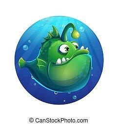 furcsa, fish, ábra, vektor, zöld, karikatúra