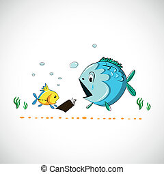 furcsa, fish, eps, rajz, vektor, tenger, karikatúra