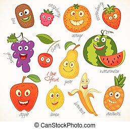 furcsa, fruit., betű, karikatúra
