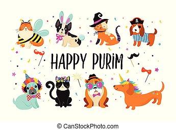 furcsa, illustration., farsang, színes, csinos, jelmezbe öltöztet, állatok, kutyák, purim, vektor, korbácsok, transzparens, pets., boldog