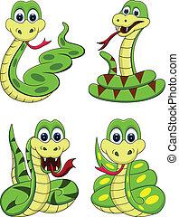 furcsa, kígyó, karikatúra