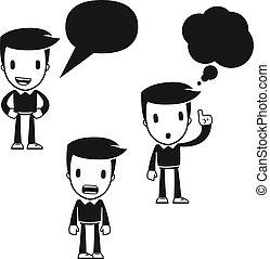 furcsa, karikatúra, pártfogó, ember
