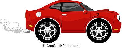 furcsa, karikatúra, piros autó