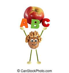 furcsa, kevés, ab, szó, egészséges, -, eating., dió, emelés, ember
