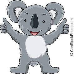 furcsa, koala, karikatúra