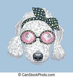 furcsa, kutya, vektor, csípőre szabott, terrier, karikatúra, bedlington