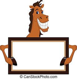 furcsa, ló, tiszta, karikatúra, aláír