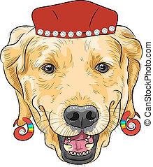 furcsa, labrador, kutya, vektor, csípőre szabott, karikatúra, vizsla