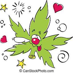 furcsa, levél növényen, nevető, marihuána