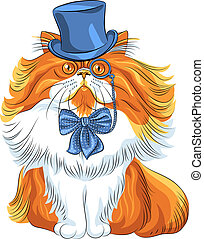 furcsa, macska, vektor, csípőre szabott, karikatúra, perzsa