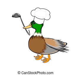 furcsa, merőkanál, csőr, séf, leves, kacsa, kalap, -e