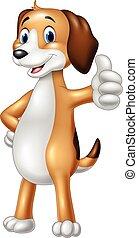 furcsa, odaad feláll, kutya, lapozgat, karikatúra