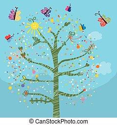 furcsa, pillangók, gyerekek, fa, kártya