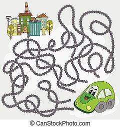 furcsa, segítség, város, autó, -, játék, irány, útvesztő, talál
