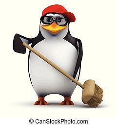 furcsa, seprű, sapka, feláll, baseball, elsöprő változás, pingvin, karikatúra, 3