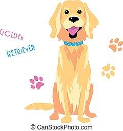 furcsa, skicc, ülés, arany-, kutya, vektor, vizsla