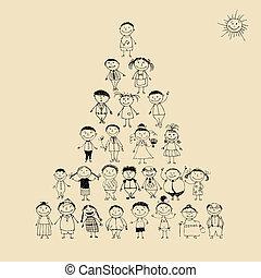 furcsa, skicc, piramis, család, nagy, együtt, mosolygós, rajz, boldog