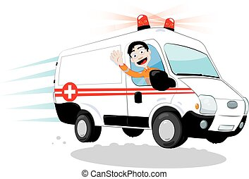 furcsa, sofőr, mentőautó
