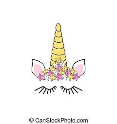 furcsa, színes, flowers., egyszarvú, betű, face., ing, rózsa, csinos, design., kártya, nyomtat